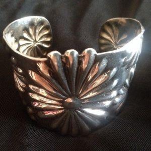 Vintage .925 Silver Daisy Cuff Bracelet